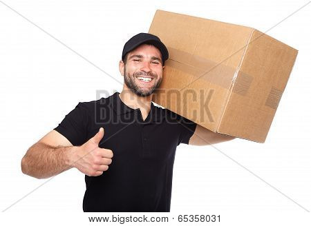 Smiling Delivery Man Giving Cardbox