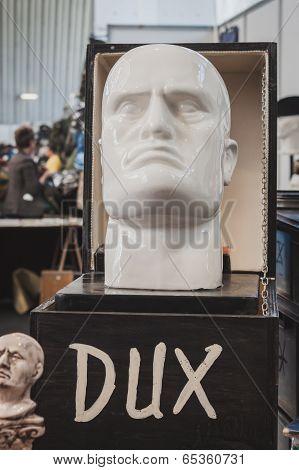 Mussolini's Head At Militalia In Milan, Italy