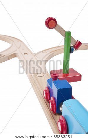 Wooden railways with railroad switch and open semaphore on isolated white background poster