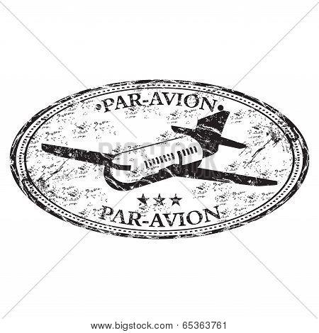 Par avion grunge rubber stamp