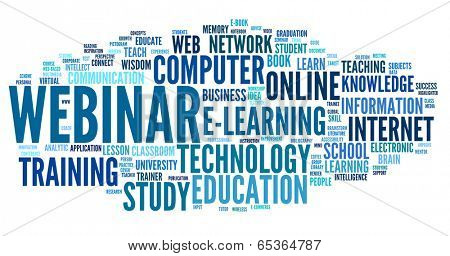 Webinar in word tag cloud on white background