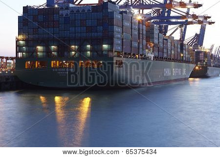 Hamburg - Container Vessel At Terminal
