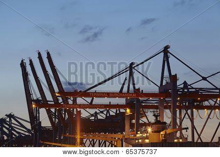 Hamburg - Container Gantry Crane In The Evening