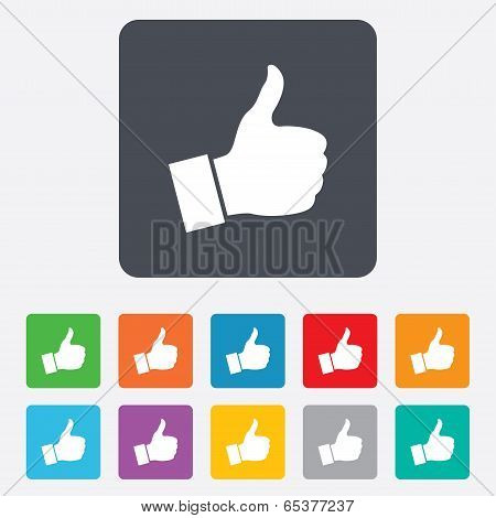 Like sign icon. Hand finger up symbol.