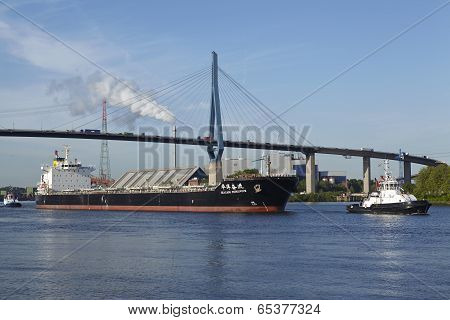 Hamburg - Freighter Under Koehlbrand Bridge