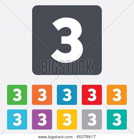 Third place award sign. Winner symbol. Step three. Rounded squares 11 buttons. Vector poster