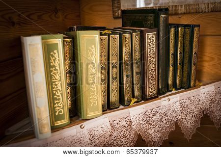 Covers of books in Arabic language.
