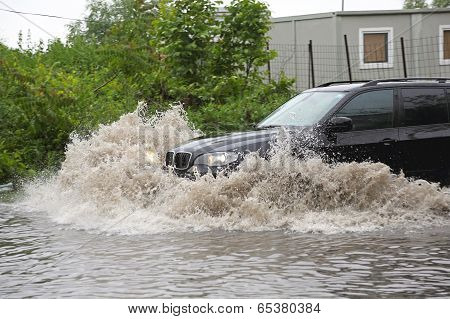 Suv In Flood