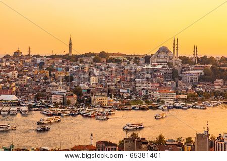 Istanbul, Turkey, View On Golden Horn Bay From Galata Tower