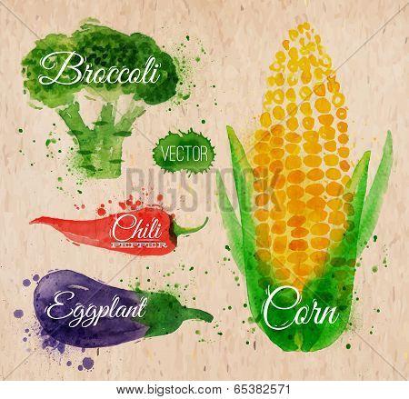 Vegetables watercolor corn, broccoli, chili, eggplant kraft