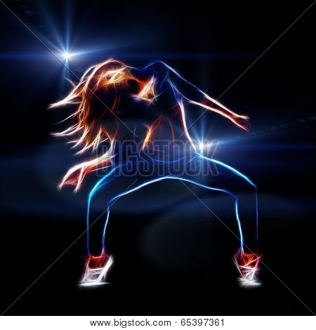 Female hip hop dancer neon fractal artwork spot lights at background with rays and flare poster