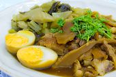 stewed pork knuckle with boiled egg and cabbage poster