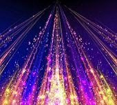 Abstract laser beams with glare sparks and stars blazed in the darkness as light. Fractal art graphics. poster