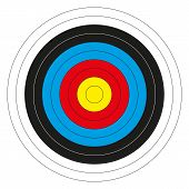 Isolated colorful bullseye target without score numbers poster