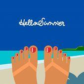 Hello summer, self shoot female feet tanned on the beach selfie