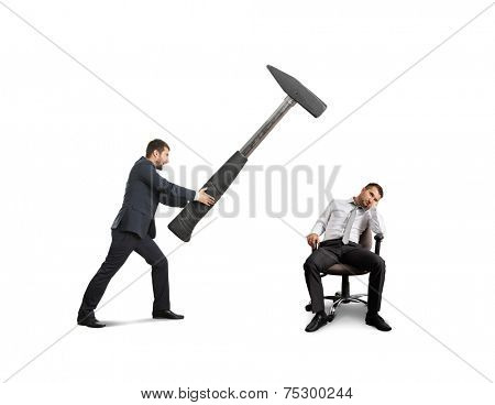 angry boss in the suit holding big hammer and screaming at lazy worker. isolated on white background poster
