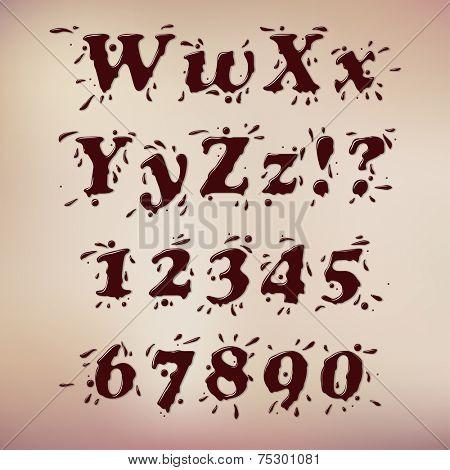 Dark Chocolate Splash Font. Set Vol.1 W-0