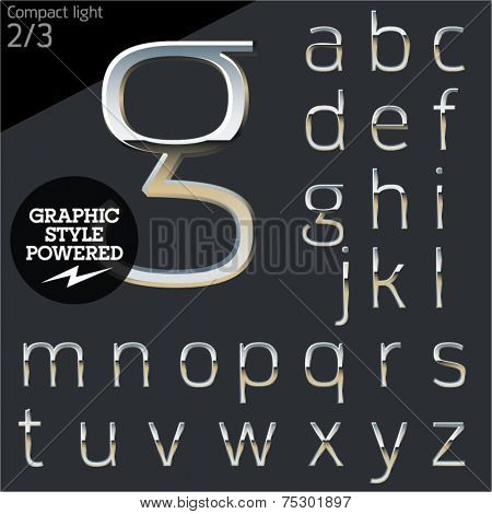 Silver chrome and aluminum vector alphabet set. Compact light. File contains graphic styles available in  Illustrator