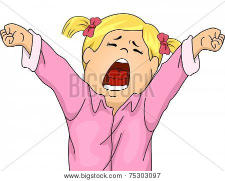Illustration Featuring a Girl in Pajamas Letting Out a Big Yawn