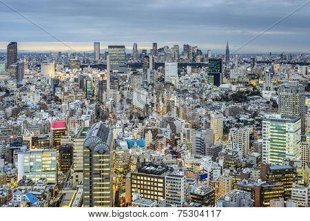 Tokyo, Japan cityscape view over the Ebisu District towards Shinjuku.
