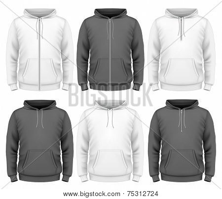 Men's hoodie design templates.  Photo-realistic vector illustration contains gradient mesh.