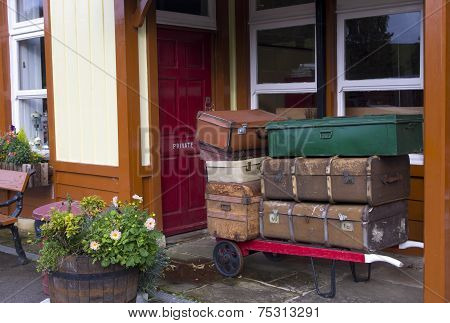 Luggage Waiting for a Train