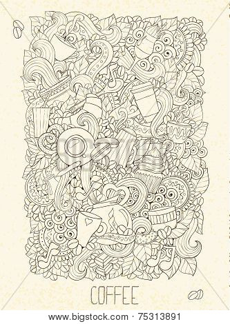 Hand-Drawn Coffee  Doodle Vector Illustration. Design Template.