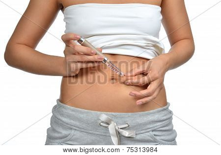 Diabetes Patient Insulin Shot By Syringe Subcutaneous Abdomen Vaccination
