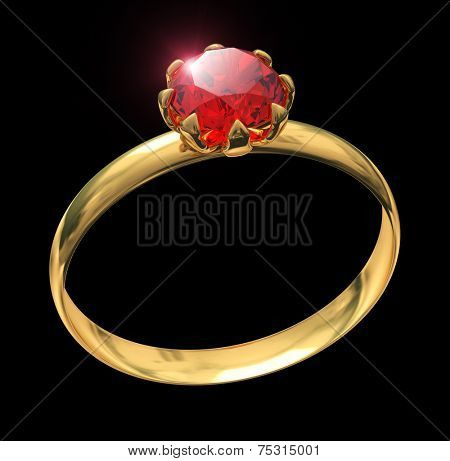 Golden ring with ruby gem isolated on black