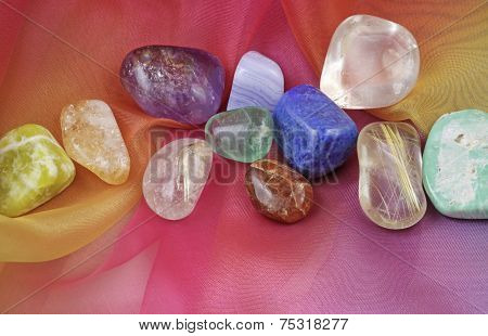 Chakra gemstones on Rainbow Chiffon