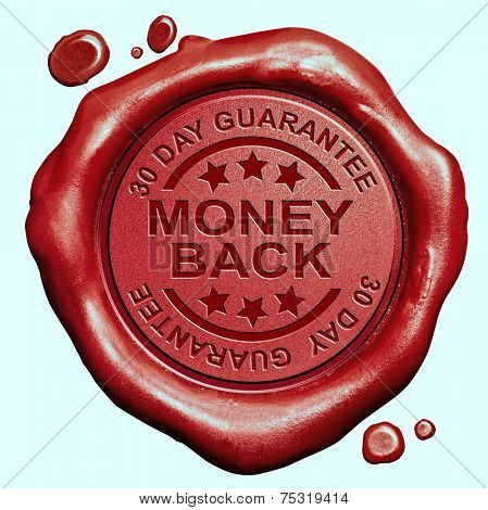 money back 30 day guaranteed red wax seal stamp 100% satisfaction customer service
