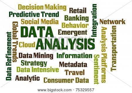 Data Analysis word cloud on white background