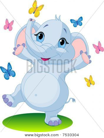 Baby elephant dancing with butterflies