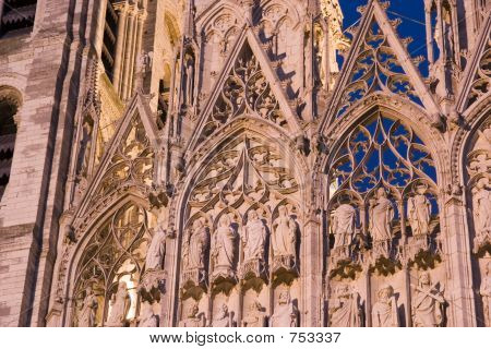 Cathedral details, Rouen, France.