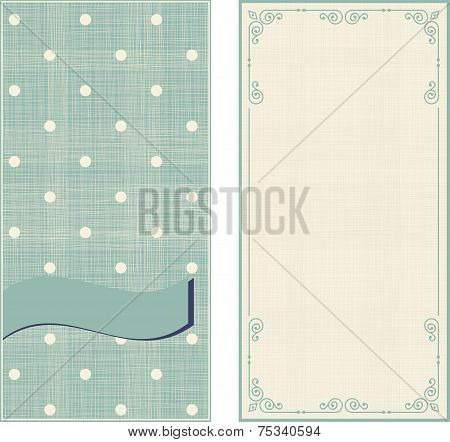 Set Of Invitation Cards On Polka Dots Background With Vintage Fr
