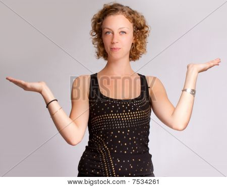 Woman Holding Blank Space