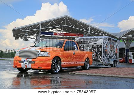 Customized Ford F150 Pick Up Truck And Trailer