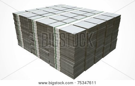 A pile of wads of generic blank banknotes on an isolated background poster