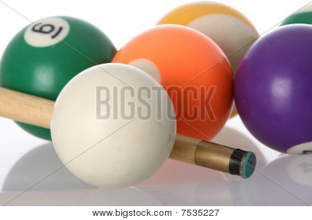 Poll Balls And Cue