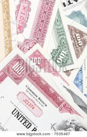 American stock exchange. Old stock share certificates from 1950s-1970s (United States). Vintage scripophily objects. poster