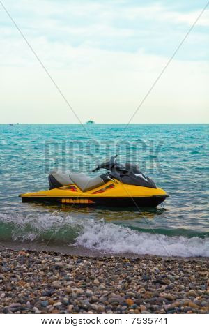 The yellow water motorcycle costs about coast