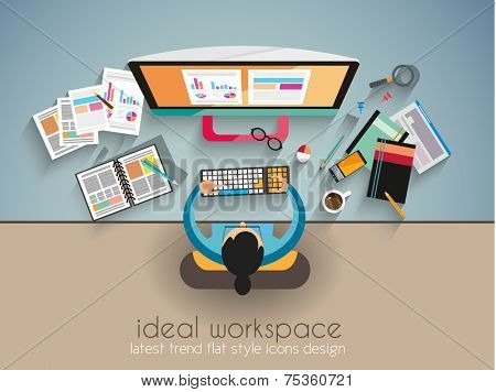Ideal Workspace for teamwork and brainsotrming with Flat style. A lot of design elements are included: computers, mobile devices, desk supplies, pencil,coffee mug, sheeets,documents and so on