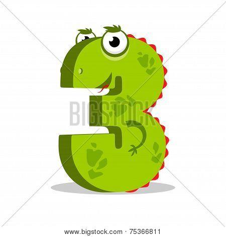 English alphabet number 3. Third.Three