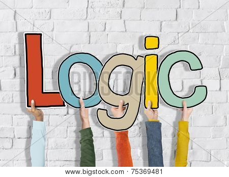 Logic Reason Thought Arms Holding White Bricks Concept