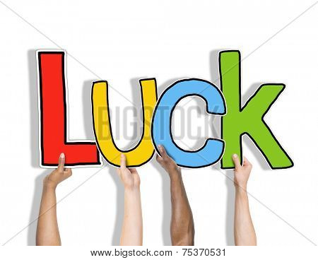 Luck Lucky Blessed Hands Holding White Background Concept