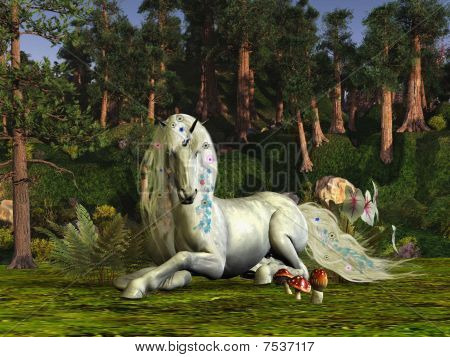 A unicorn stag lays down to rest among the magic trees of the forest. poster
