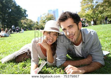 Couple relaxing in Central Park, New york City