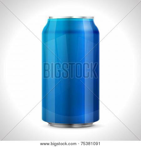 Blue aluminum can