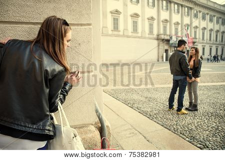 Jelous Woman Stalking A Couple