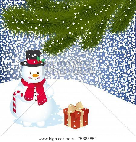 Snowball with snowman and trees inside - Illustration. Vector eps10 illustration poster